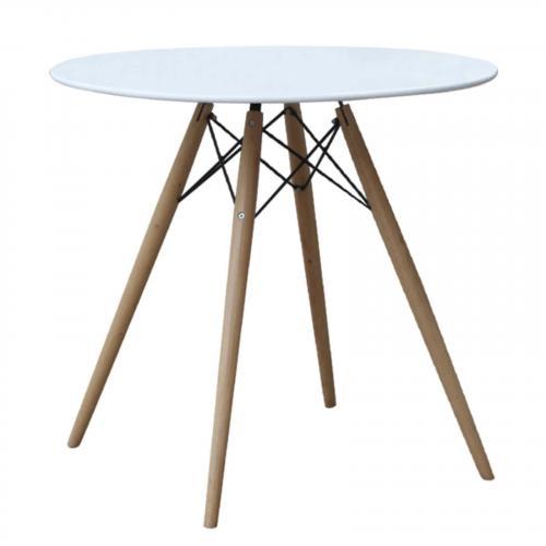 "WoodLeg 48"" Fiberglass Top Dining Table, White"