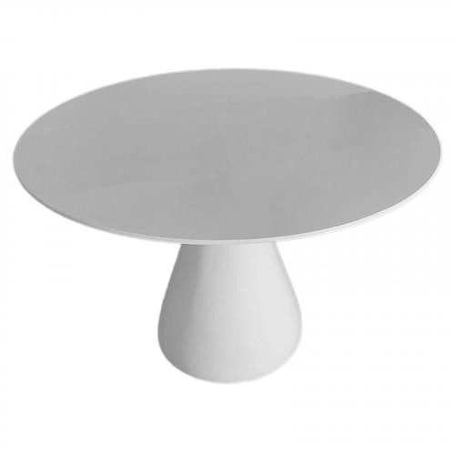 "60"" Vase Base Fiberglass Dining Table, White"