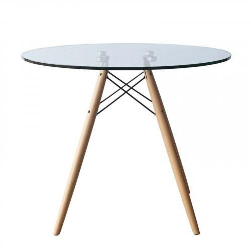 """WoodLeg 36"""" Dining Table, Clear"""