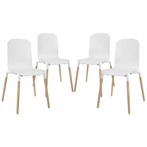 Stack Dining Chairs Wood Set of 4 in White