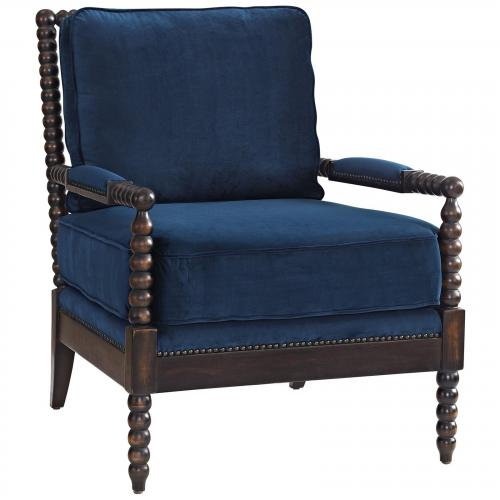 Revel Velvet Armchair in Navy
