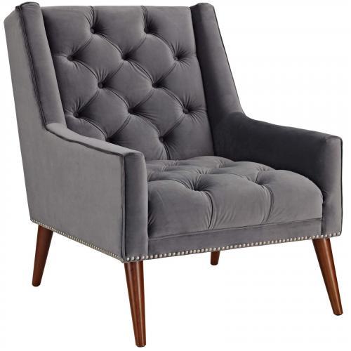 Peruse Velvet Armchair in Gray