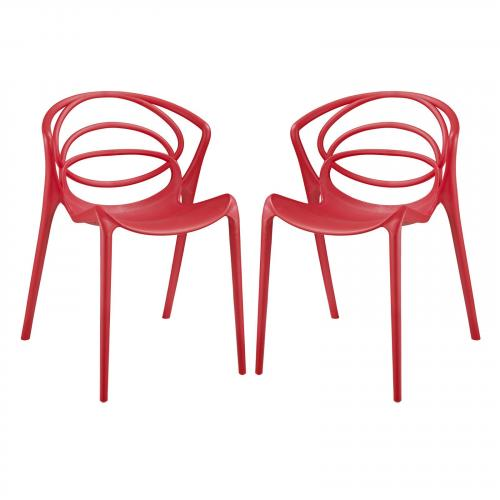 Locus Dining Chair Set of 2 in Red