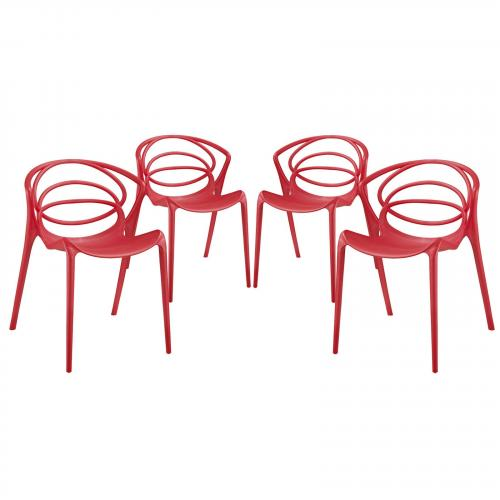 Locus Dining Chair Set of 4 in Red