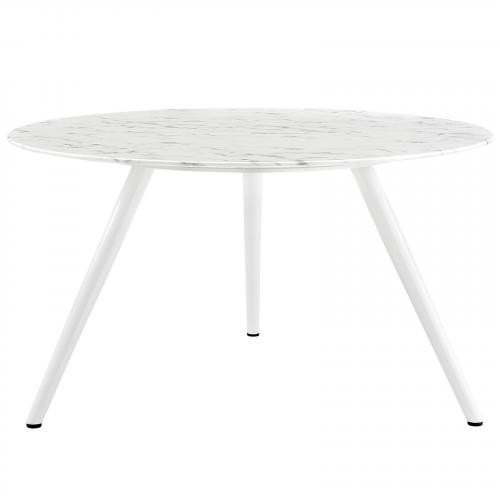 """Lippa 54"""" Round Artificial Marble Dining Table with Tripod Base"""