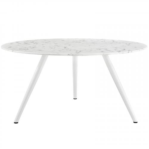 """Lippa 60"""" Round Artificial Marble Dining Table with Tripod Base"""