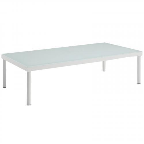 Harmony Outdoor Patio Aluminum Coffee Table in White