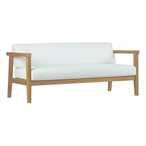 Bayport Outdoor Patio Teak Sofa in Natural White
