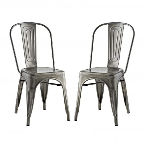 Promenade Dining Side Chair Set of 2 in Gunmetal