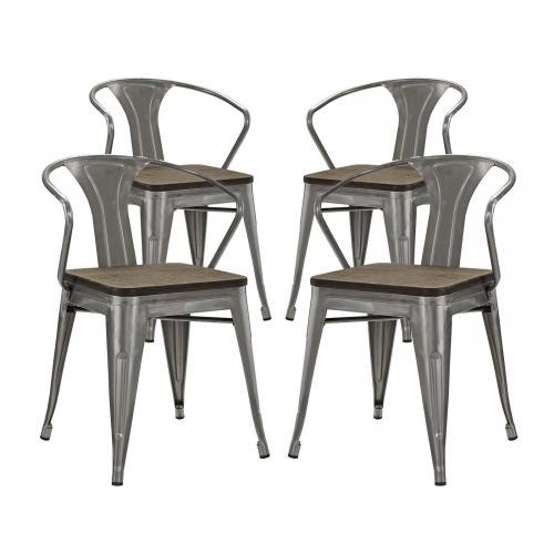 Promenade Bamboo Dining Chair Set of 4 in Gunmetal