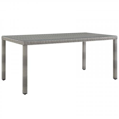 """Aura 68"""" Outdoor Patio Wicker Rattan Dining Table in Gray"""