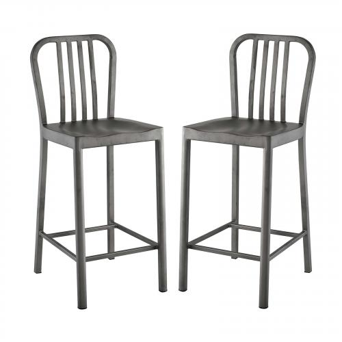 Clink Counter Stool Set of 2 in Silver
