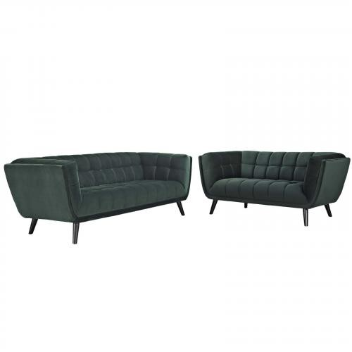 Bestow 2 Piece Velvet Sofa and Loveseat Set