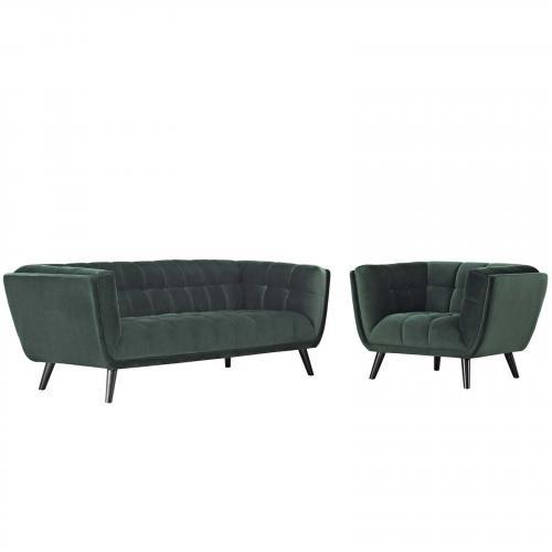 Bestow 2 Piece Velvet Sofa and Armchair Set