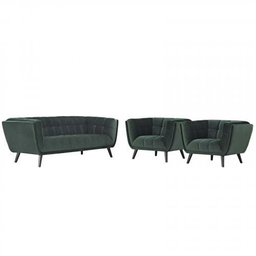 Bestow 3 Piece Velvet Sofa and Armchair Set