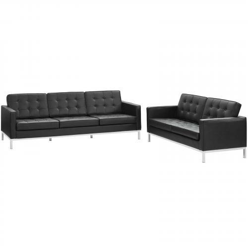 Loft 2 Piece Leather Sofa and Loveseat Set