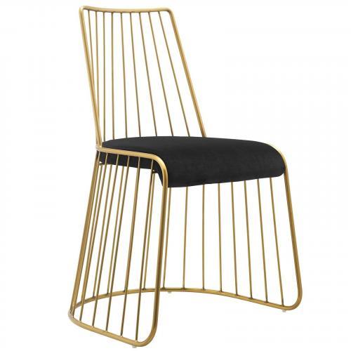 Rivulet Gold Stainless Steel Upholstered Velvet Dining Chair