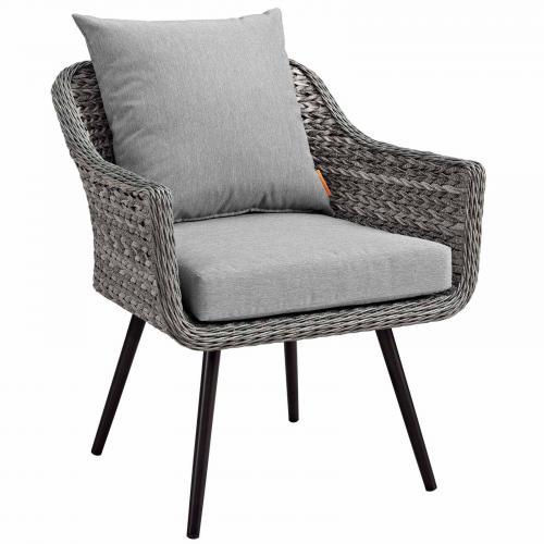 Endeavor Outdoor Patio Wicker Rattan Armchair in Gray Gray