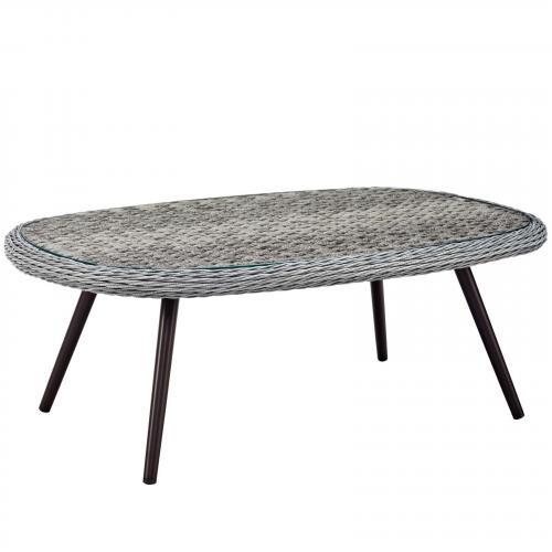 Endeavor Outdoor Patio Wicker Rattan Coffee Table in Gray