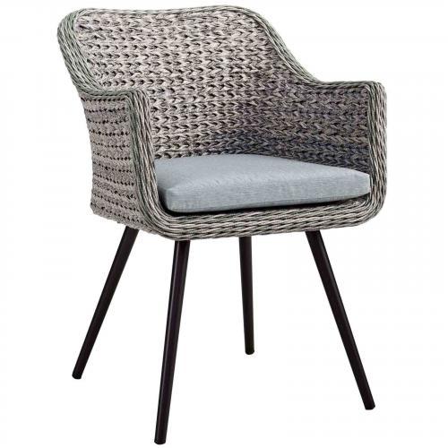 Endeavor Outdoor Patio Wicker Rattan Dining Armchair in Gray Gray