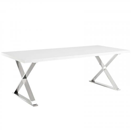 Sector Dining Table in White Silver