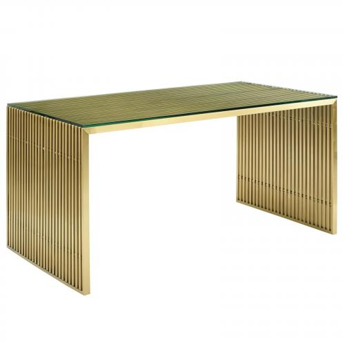 Gridiron Stainless Steel Dining Table in Gold