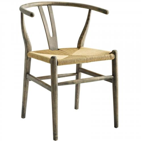 Amish Dining Wood Side Chair in Weathered Gray