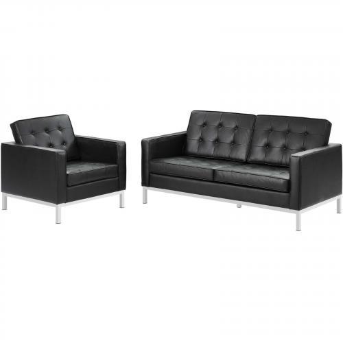 Loft 2 Piece Leather Loveseat and Armchair Set