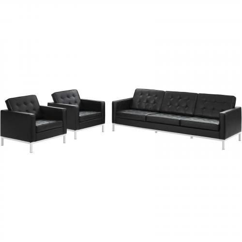 Loft 3 Piece Leather Sofa and Armchair Set