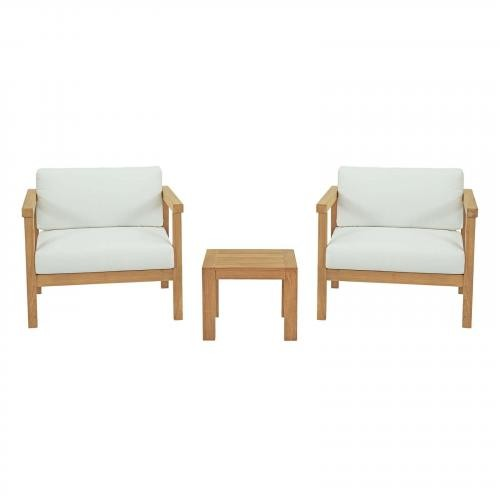 Bayport 3 Piece Outdoor Patio Teak Set in Natural White