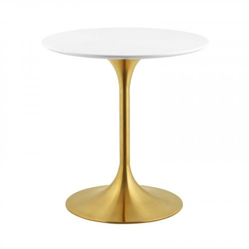 "Lippa 28"" Round Dining Table in Gold White"
