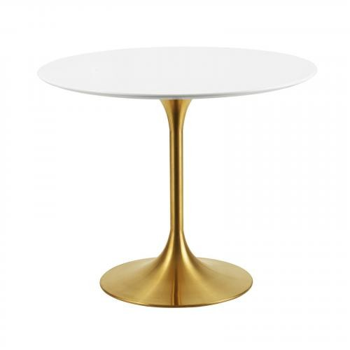 """Lippa 36"""" Round Dining Table in Gold White"""