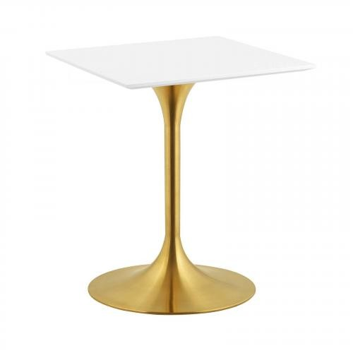 """Lippa 24"""" Square Dining Table in Gold White"""