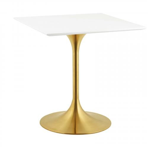 """Lippa 28"""" Square Dining Table in Gold White"""