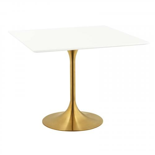 "Lippa 36"" Square Dining Table in Gold White"