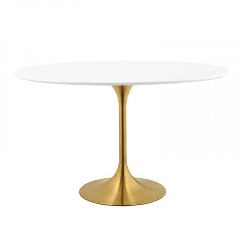 """Lippa 48"""" Oval Dining Table in Gold White"""