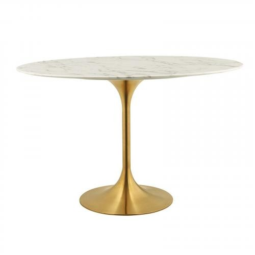 "Lippa 48"" Oval Dining Table in Gold White"