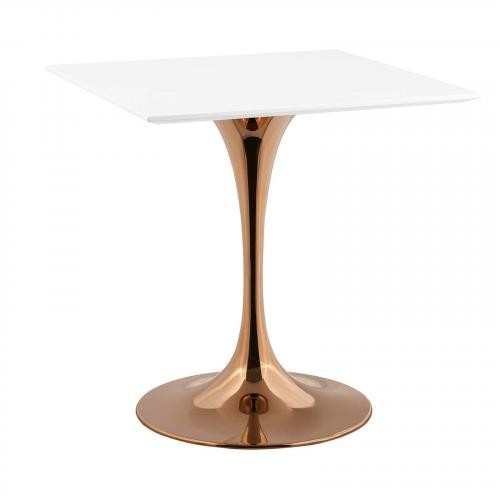 """Lippa 28"""" Square Dining Table in Rose White"""