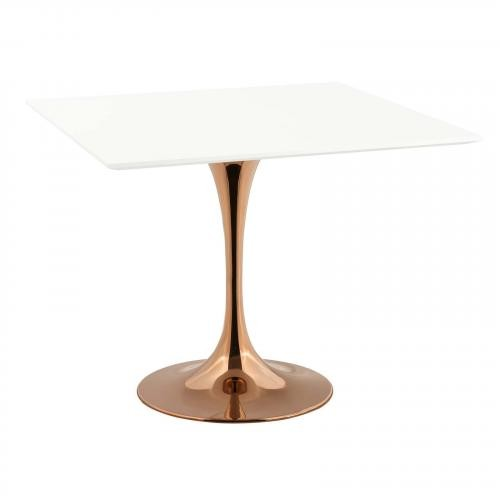 """Lippa 36"""" Square Dining Table in Rose White"""