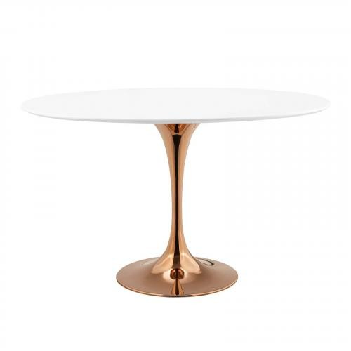 "Lippa 48"" Oval Dining Table in Rose White"