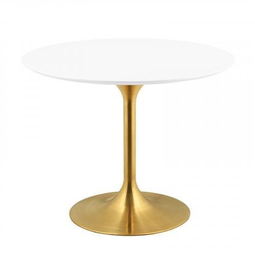 """Lippa 40"""" Round Dining Table in Gold White"""