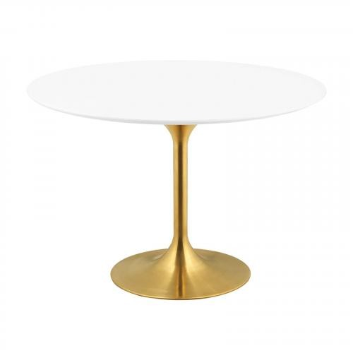 "Lippa 47"" Round Dining Table in Gold White"