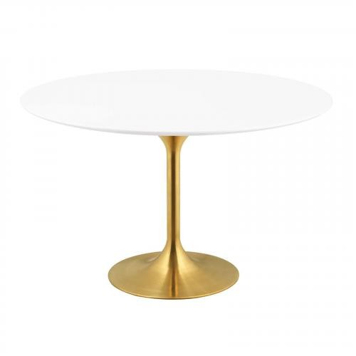"Lippa 54"" Round Dining Table in Gold White"