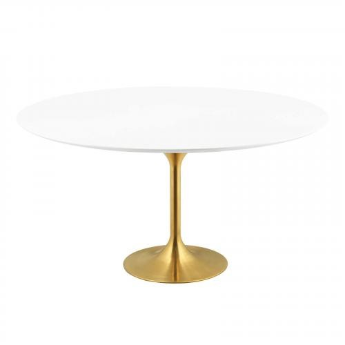 """Lippa 60"""" Round Dining Table in Gold White"""