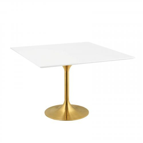 """Lippa 47"""" Square Dining Table in Gold White"""