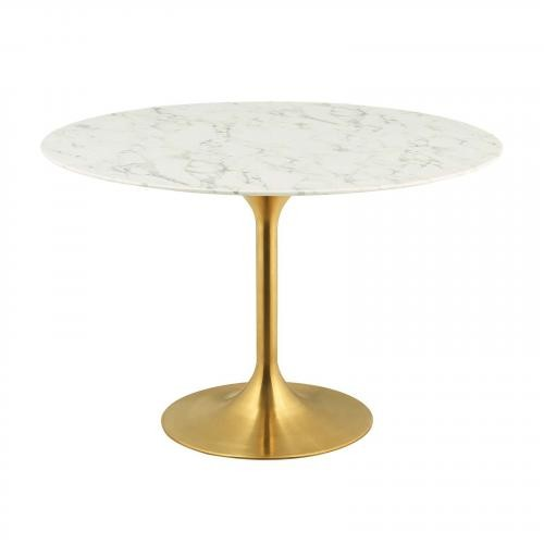 """Lippa 47"""" Round Dining Table in Gold White"""