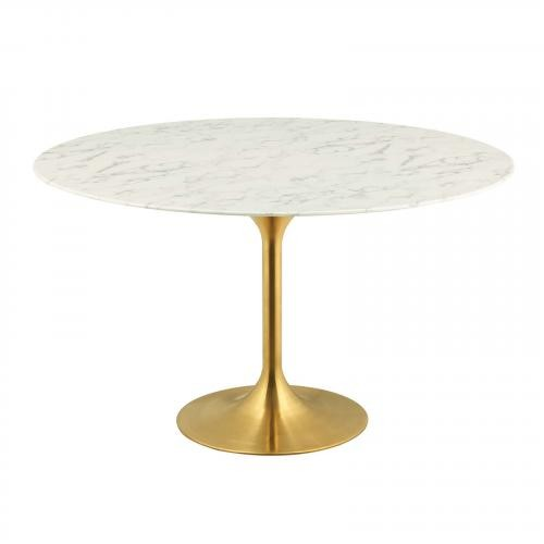 """Lippa 54"""" Round Dining Table in Gold White"""