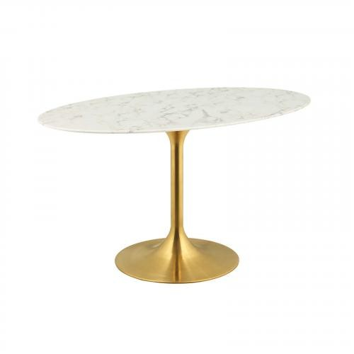 """Lippa 54"""" Oval Dining Table in Gold White"""