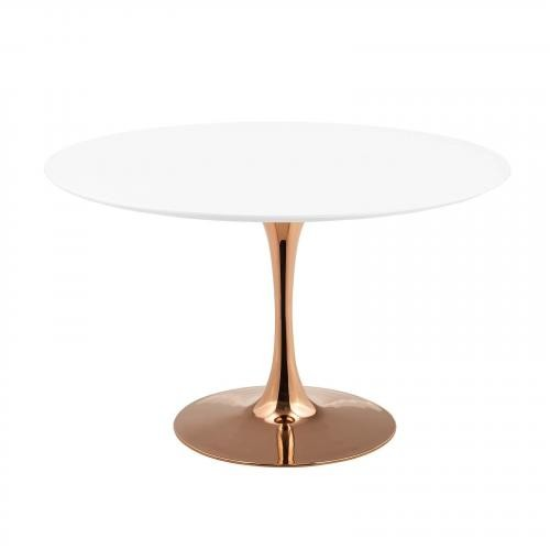 """Lippa 47"""" Round Dining Table in Rose White"""