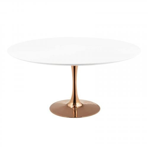 """Lippa 60"""" Round Dining Table in Rose White"""
